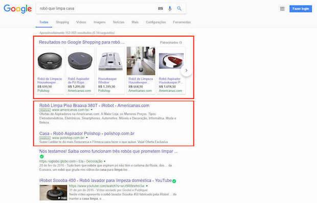 Anúncios do Google Ads na Página de Resultados do Google